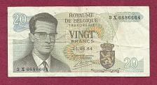 Buy BELGIUM 20 Francs 1964 Banknote 3X6686664 - King Baudouin, Atomium Complex