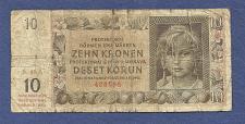 Buy BOHEMIA & MOROVIA 10 Kronen 1942 Banknote 428288 - Czechoslavakia / WWII Currency