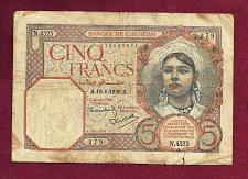 Buy Algeria (Tunisia) 5 Francs 1941 Banknote 113062879 - Historic WWII Currency !!