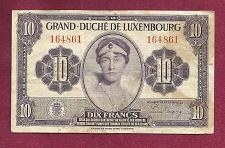 Buy LUXEMBOURG 10 Francs 1944 (ND) WWII Banknote 164861 - Grand Duchess Charlotte