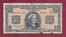 Buy Netherlands 2 1/2 Gulden 1945 WWII Banknote AV488139 Queen Wilhelmina P71 - Rare Note