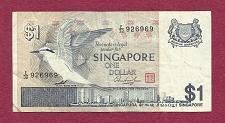 Buy Singapore $1 Dollar 1976 Banknote 926969 BLACK-NAPED TERN BIRD!