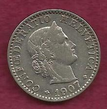 Buy SWITZERLAND 20 RAPPEN 1907 Libertas Goddess of Liberty Coin