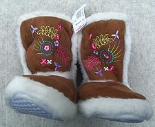"Buy Girls Boot Slippers Brown w/White ""Fur"" Trim Embroidery on Front Size Sm New w/Tag"