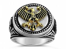 Buy Germanic Eagle Coin ring Mens Sterling Silver