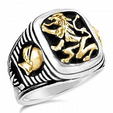 Buy Bavarian Lion Knight Signet sterling silver mens ring lge.
