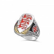 Buy Richard the Lionheart Shield 10k gold Ster Silver ring