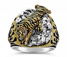 Buy Bengal Tiger Mens ring Sterling Silver Emerald Lge.