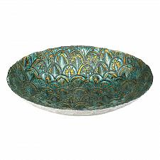 """Buy *18588U - Abstract Peacock Blue Green 15 1/2"""" Decorative Accent Bowl"""