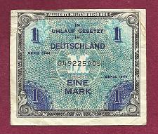 Buy GERMANY 1 Mark 1944 BanknoteNo. 049225905 - WWII Allied Military Currency!!!