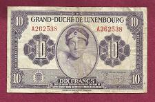 Buy LUXEMBOURG 10 Francs 1944 (ND) WWII Banknote A262538 - Grand Duchess Charlotte