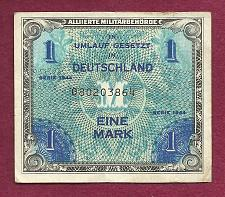 Buy GERMANY 1 Mark 1944 Banknote No 080203864 - WWII Allied Military Currency !!!