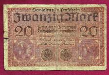 Buy Germany 20 Mark banknote 1918 WWI BANKNOTE V9497579
