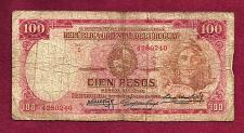 Buy Uraguay 100 Pesos 1939 Banknote No 4280240 - JG Artigas Watermark