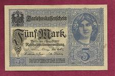 Buy GERMANY 5 Mark 1917 Banknote 17411371 -State Loan Currency Note- DARLENSKAFFEHSCHEIN