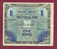 Buy GERMANY 1 Mark 1944 Banknote No 067118281 - WWII Allied Military Currency !!!