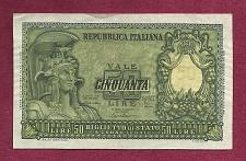 Buy ITALY 50 Lire 1951 Banknote #033606 - Helmeted FAVALOSO! Crisp Note!!