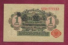 Buy GERMANY 1 MARK 1914 BANKNOTE 852-773153 - Red Seal, Darlehnskassenschein
