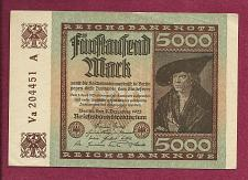Buy GERMANY 5000 MARK 1922 BANKNOTE Va 204451 A - MERCHANT Han Imhof - WEIMAR REPUBLIC