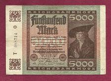 Buy GERMANY 5000 MARK 1922 BANKNOTE T 088714 0 - MERCHANT Han Imhof - WEIMAR REPUBLIC