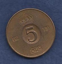 Buy SWEDEN 5 Ore 1954 COIN - Bronze - Gustaff VI