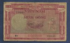 Buy SOUTH VIETNAM 10 Dong 1955 Banknote No. W3 735943 - (P3)