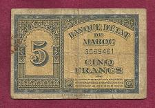 Buy MOROCCO 5 FRANCS 1943 Banknote 3569461 Pick# KM33 - Historic WWII Issue /Currency!