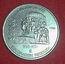 Buy MONEDA MEXICANA CONMEMORATIVA DE 5000 PESOS DEL AÑO 1988