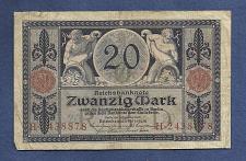 Buy GERMANY 20 Mark 1915 Banknote H2438878 - Rare German Empire p63 - Imperial Bank
