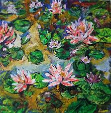 Buy Water Lilies Original Oil Painting Pink Flowers Pond Impressionism Palette Knife Art