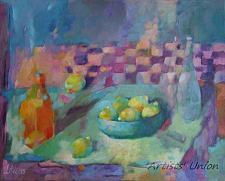 Buy Still Life Lemons Original Oil Painting Fine Art Bottles Bowl Blue Purple Colorful