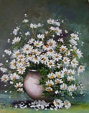 Buy s-White Daisies Still Life Original Oil Painting Impasto Palette Knife Art Wild Flowe