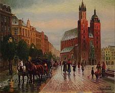 Buy Cityscape Original Oil Painting Cracow Walking People Rain Figurative Fine Art Horses