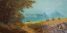 Buy Autumn Haystacks Original Oil Painting Landscape Birch Trees Cottage Fall Fields