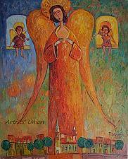 Buy Angels Original Oil Painting Portrait Figurative Cityscape Religion Violin Impasto