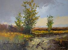 Buy Landscape Original Oil Painting Fields Trees Road Palette Knife Art Countryside Storm