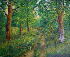 Buy Landscape Original Oil Painting Forest Field Road Trees Meadow Green Textured Art