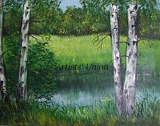 Buy River Birches Original Oil Painting Landscape Forest Glade Trees Palette Knife Art