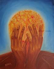 Buy Surrealism Original Oil Painting Figurative Fine Art Portrait Brain Storm Hands Red