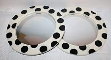 Buy Vintage Pair of Round Wall Mirrors Very Cool Resin Cream Frame Large Black Polka Dots