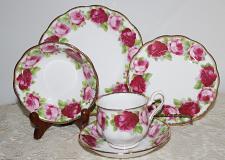 Buy Vintage Royal Albert Old English Rose 5 Piece Set Teacup & Saucer, Salad Plate, Side