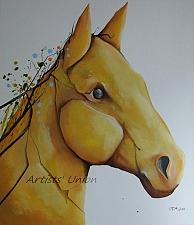 Buy Spring Horse Original Oil Painting Cubism Modern Fine Art Forms Animal Contemporary