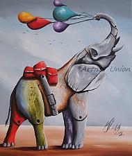 Buy Whimsical Elephant Original Oil Painting Surrealism Contemporary Fine Art Fantasy Big