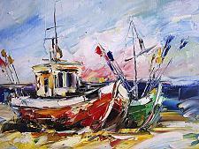 Buy Fishing Boats Original Oil Painting Seascape Impasto Palette Knife Art Colorful Beach
