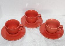 Buy Designer Ceramic Coffee Cups & Saucers Lot of 3 Sets Coral or Salmon Embossed Border