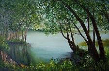 Buy Lake Original Oil Painting Landscape Forest Trees Spring Green Palette Knife Fine Art