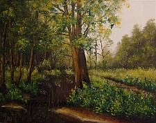 Buy Forest Stream Original Oil Painting Landscape Trees Spring Palette Knife Fine Art