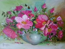 Buy Pink Wild Roses Original Oil Painting Impasto Still Life Palette Knife Art Flowers