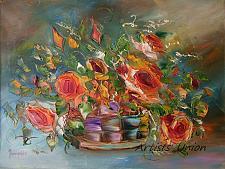 Buy Roses Original Oil Painting Still Life Impasto Palette Knife Fine Art Orange Flowers