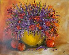 Buy Still Life Original Oil Painting Purple Wild Flowers Fruits Impasto Palette Knife Art